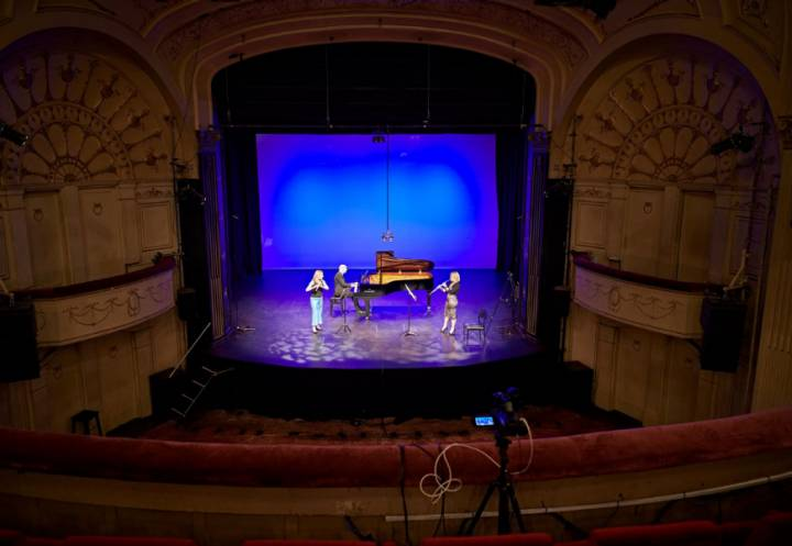 Musicians on stage for the Melbourne Digital Concert Hall at The Athenaeum Theatre
